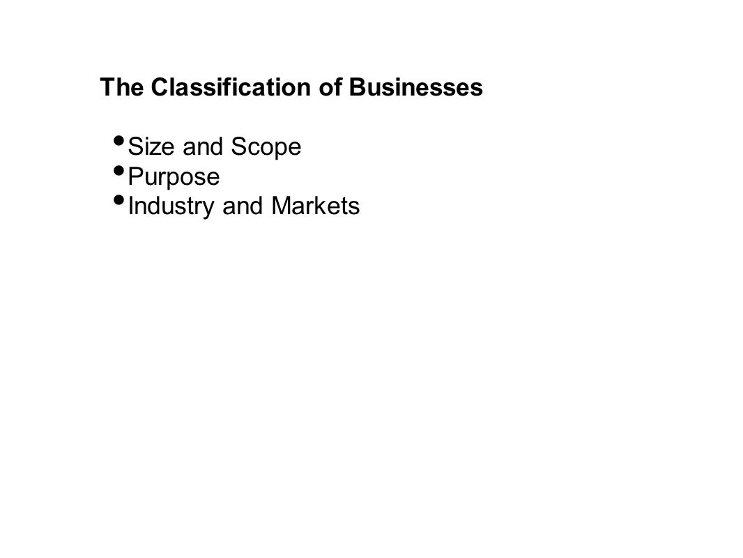 The Classification of Businesses