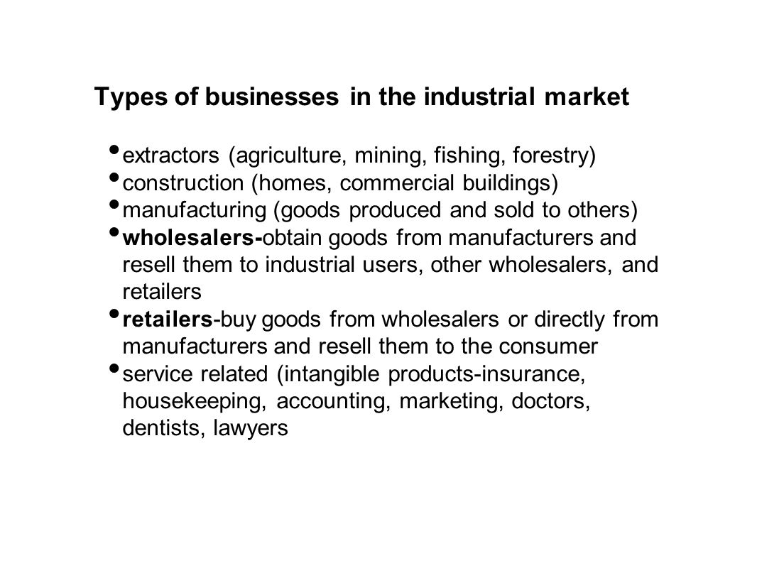 Types of businesses in the industrial market