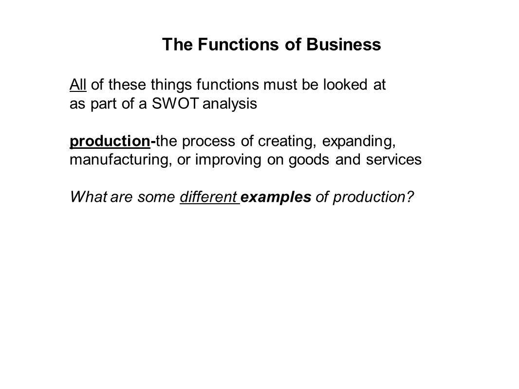 The Functions of Business