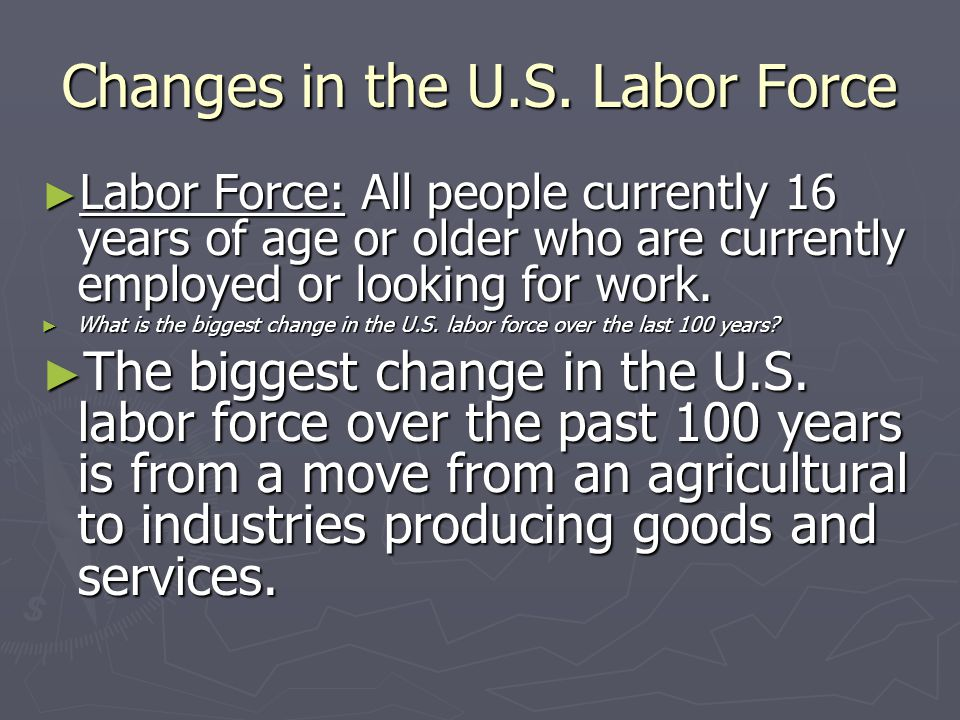 Changes in the U.S. Labor Force