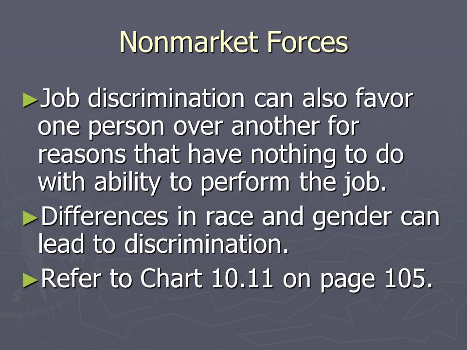 Nonmarket Forces Job discrimination can also favor one person over another for reasons that have nothing to do with ability to perform the job.