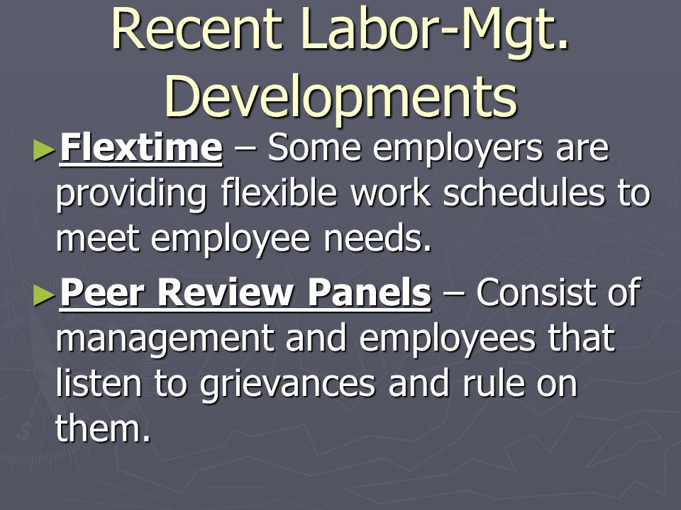 Recent Labor-Mgt. Developments