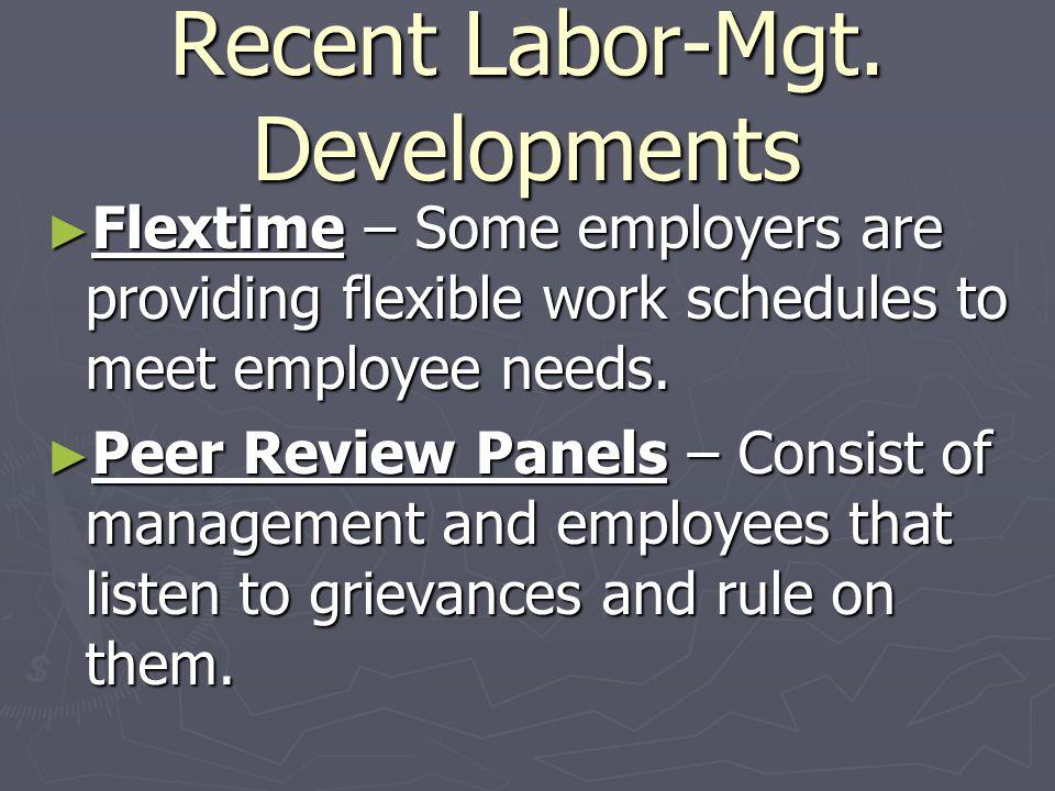 Recent Labor-Mgt. Developments