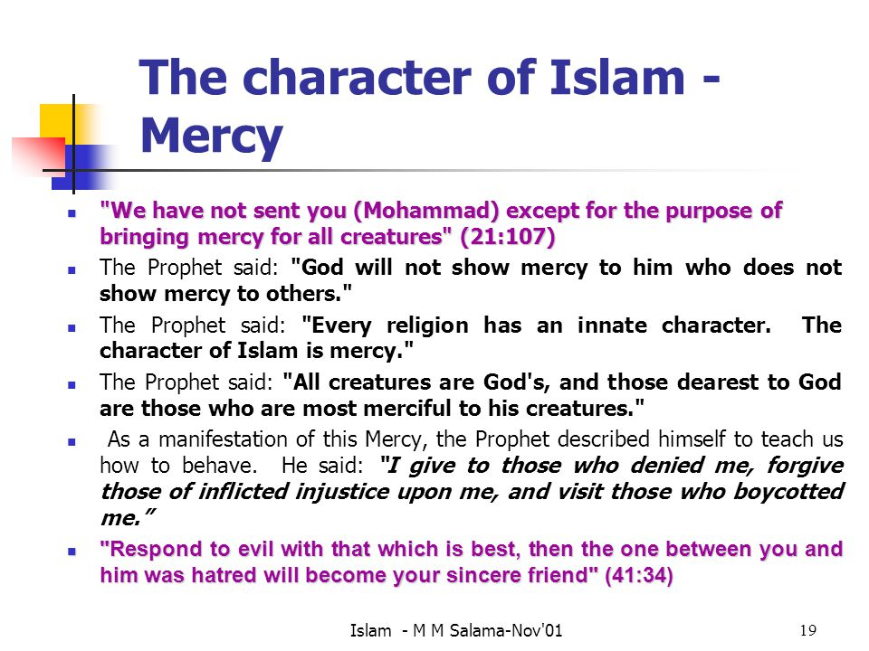 The character of Islam - Mercy