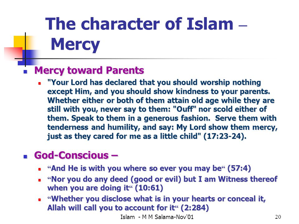 The character of Islam – Mercy