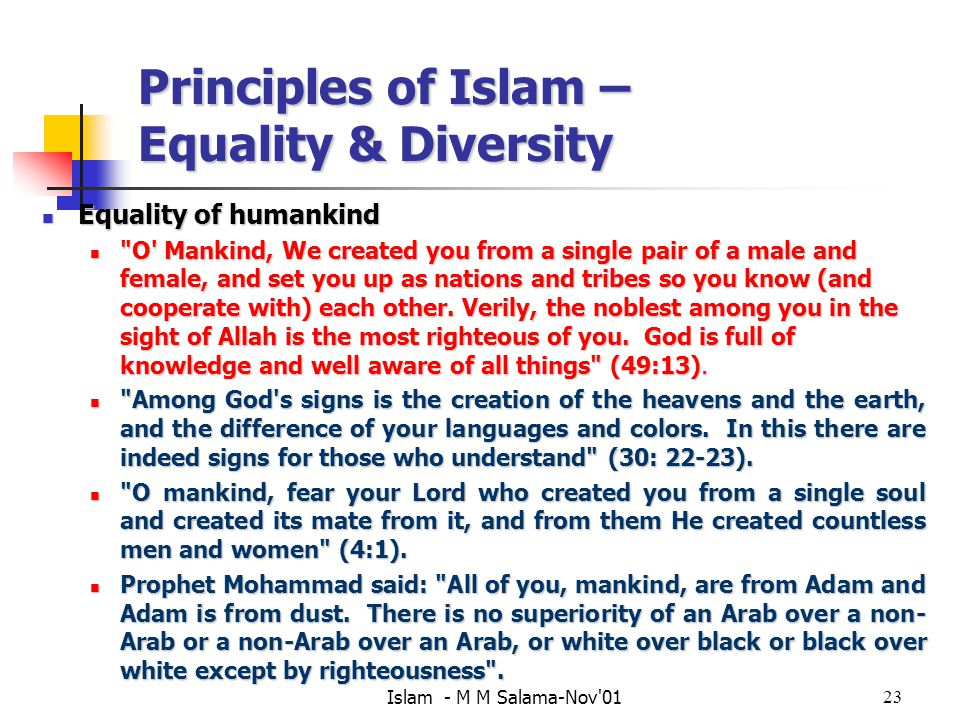 Principles of Islam – Equality & Diversity