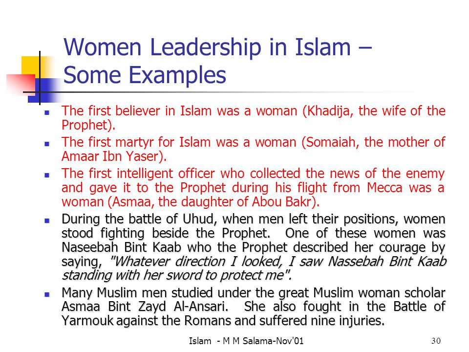 Women Leadership in Islam – Some Examples