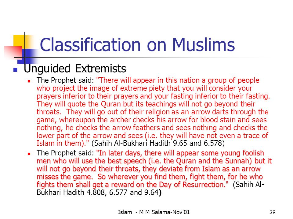 Classification on Muslims