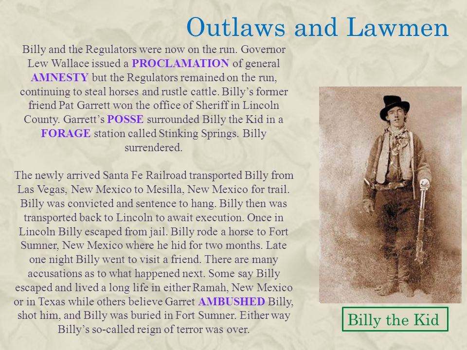 Outlaws and Lawmen Billy the Kid