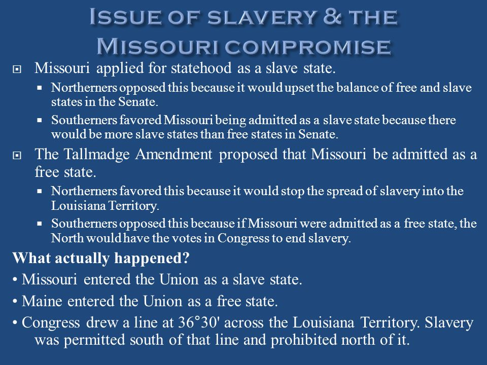 Issue of slavery & the Missouri compromise