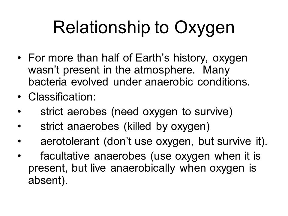 Relationship to Oxygen
