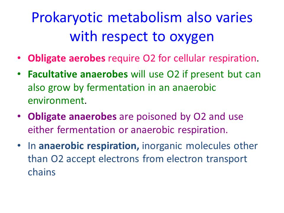 Prokaryotic metabolism also varies with respect to oxygen