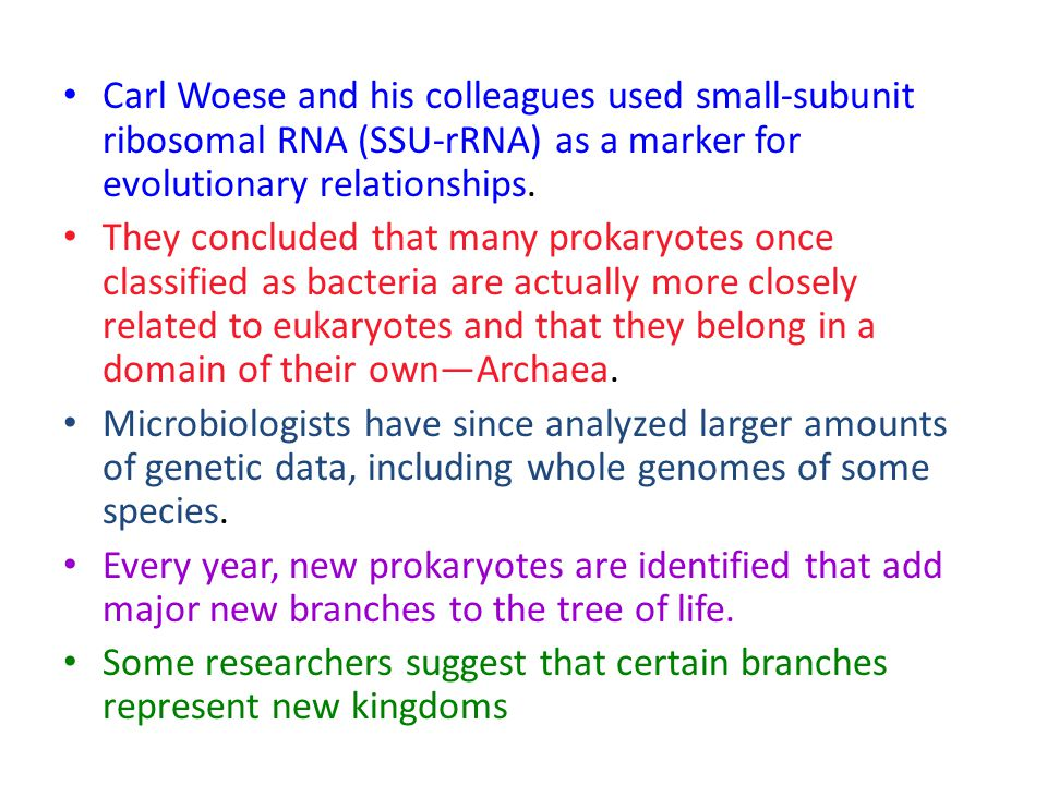 Carl Woese and his colleagues used small-subunit ribosomal RNA (SSU-rRNA) as a marker for evolutionary relationships.