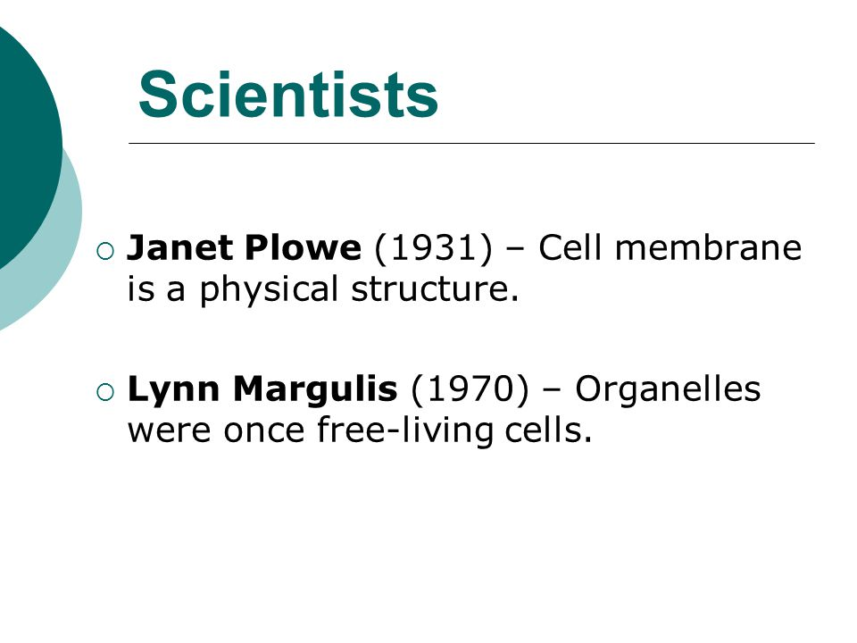 Scientists Janet Plowe (1931) – Cell membrane is a physical structure.