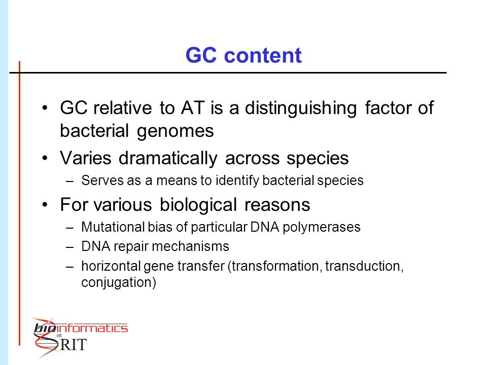 GC content GC relative to AT is a distinguishing factor of bacterial genomes. Varies dramatically across species.