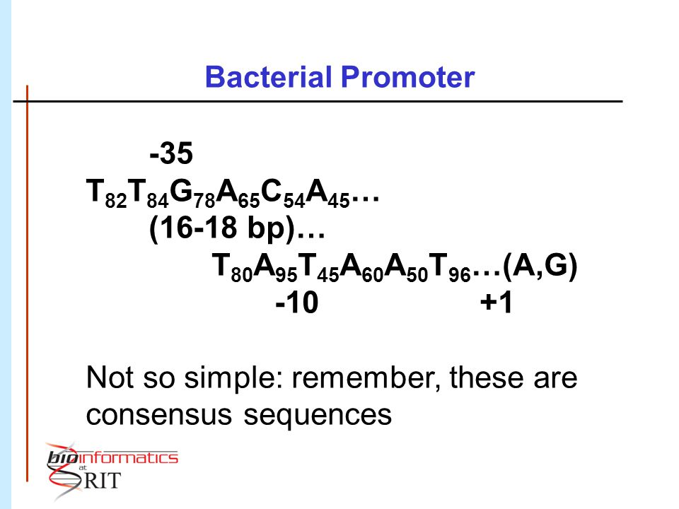 Not so simple: remember, these are consensus sequences