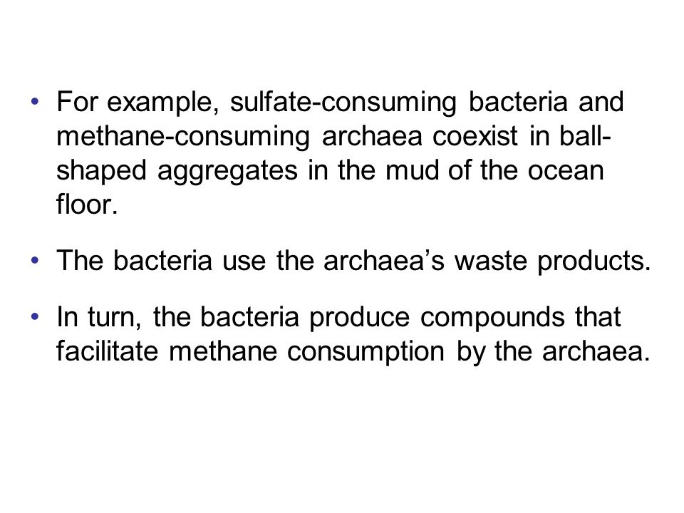 For example, sulfate-consuming bacteria and methane-consuming archaea coexist in ball-shaped aggregates in the mud of the ocean floor.