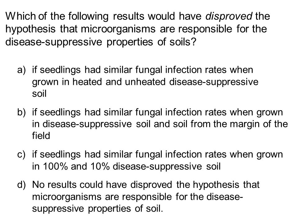 Which of the following results would have disproved the hypothesis that microorganisms are responsible for the disease-suppressive properties of soils