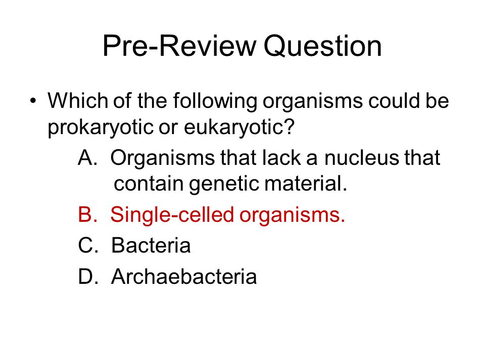 Pre-Review Question Which of the following organisms could be prokaryotic or eukaryotic