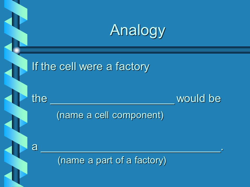Analogy If the cell were a factory the ____________________ would be