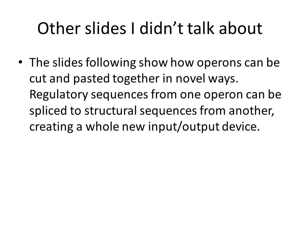 Other slides I didn't talk about