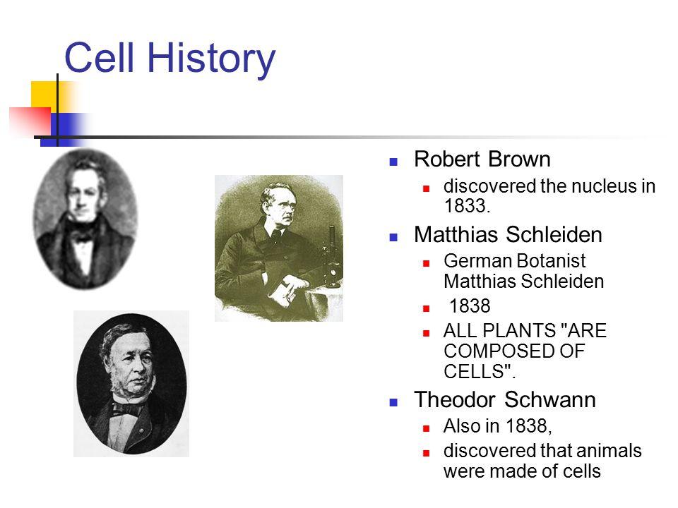 Cell History Robert Brown Matthias Schleiden Theodor Schwann