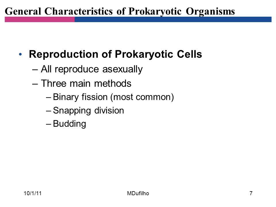 General Characteristics of Prokaryotic Organisms