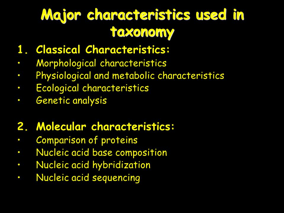Major characteristics used in taxonomy