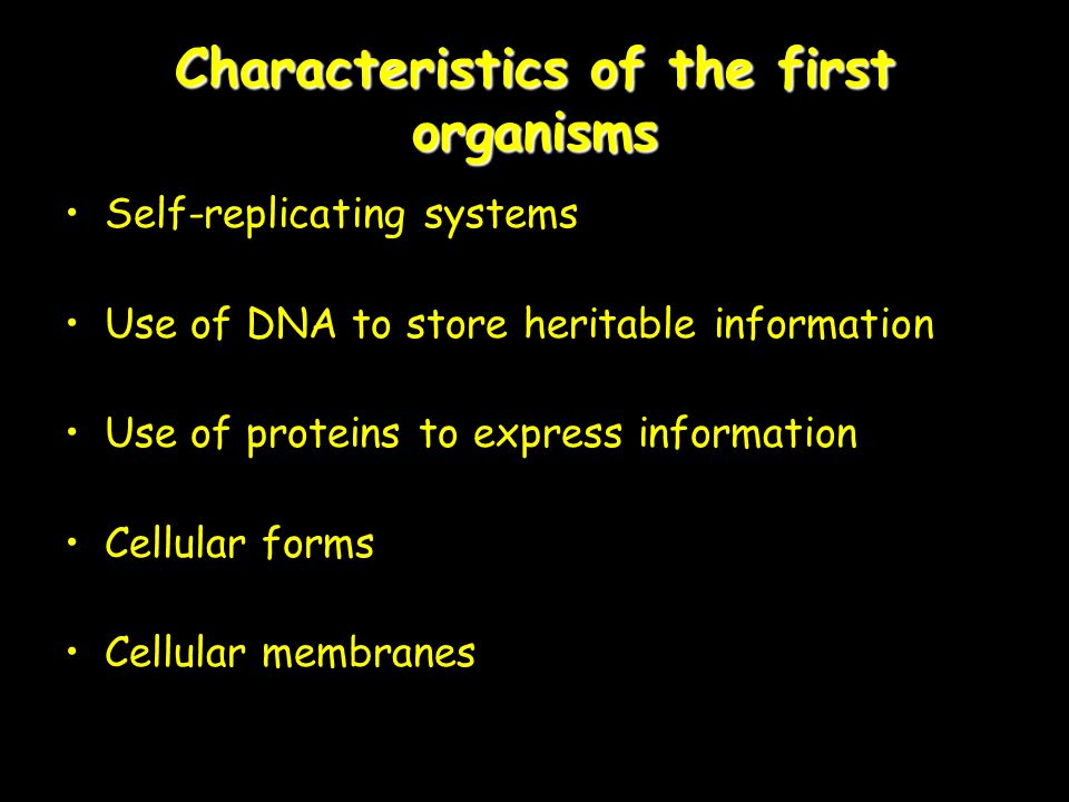 Characteristics of the first organisms