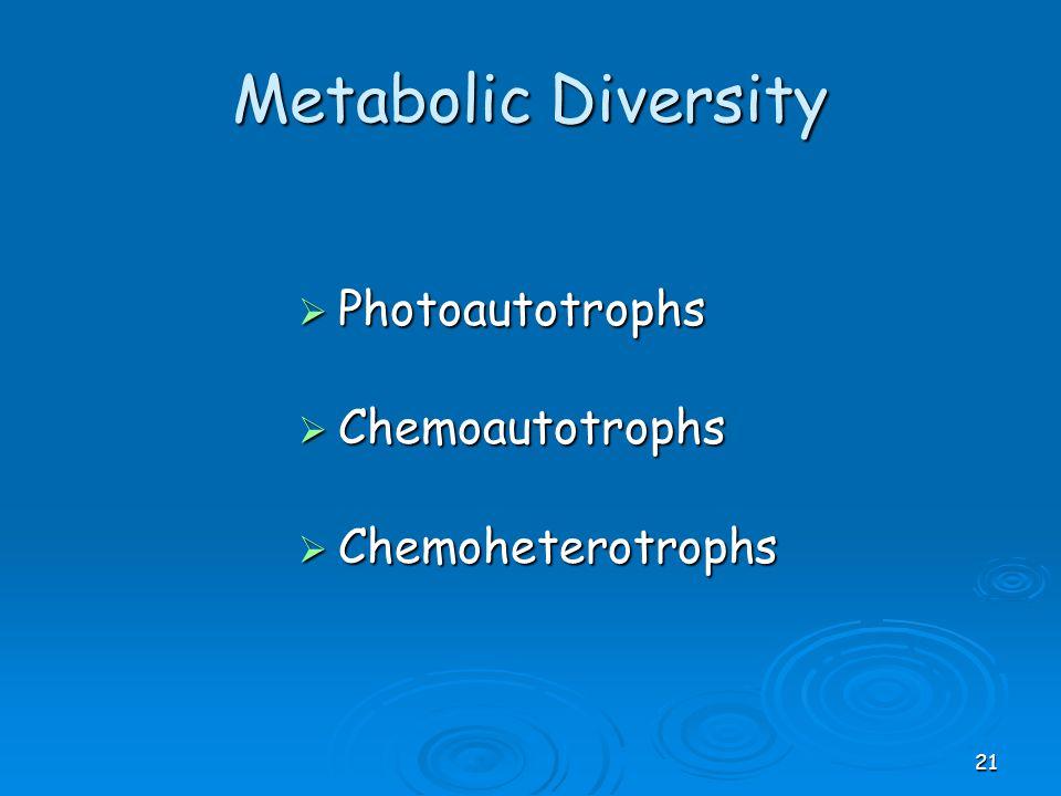 Metabolic Diversity Photoautotrophs Chemoautotrophs Chemoheterotrophs