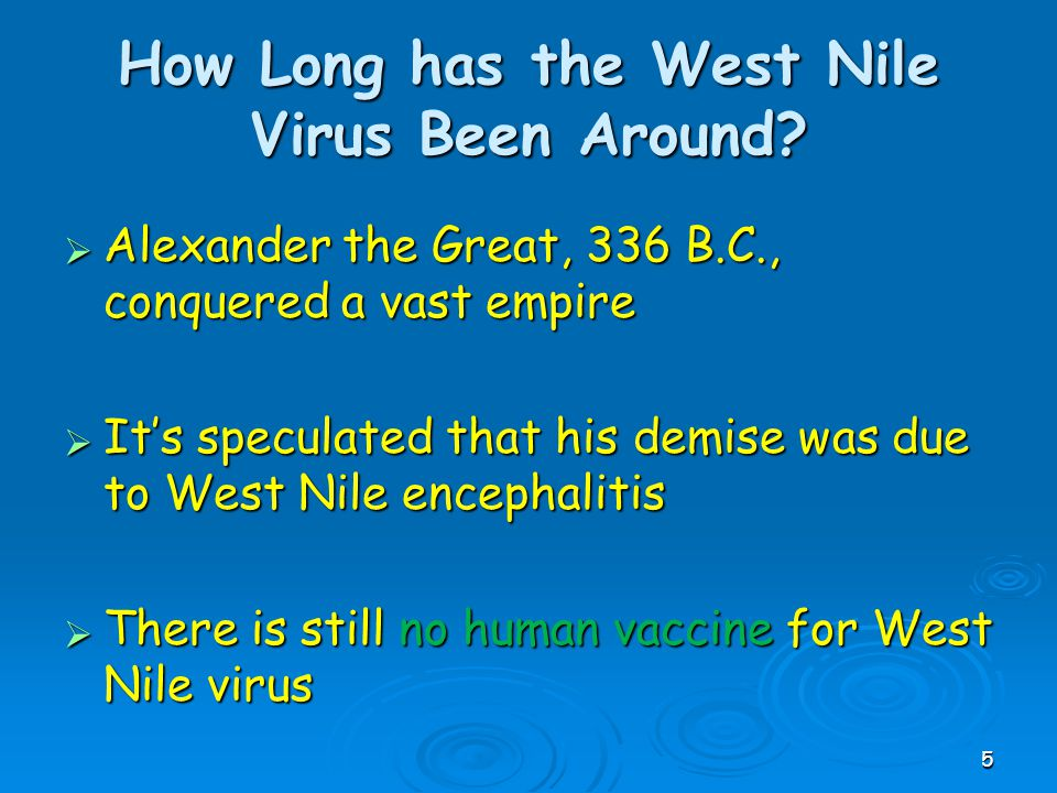 How Long has the West Nile Virus Been Around