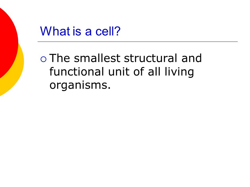 What is a cell The smallest structural and functional unit of all living organisms.