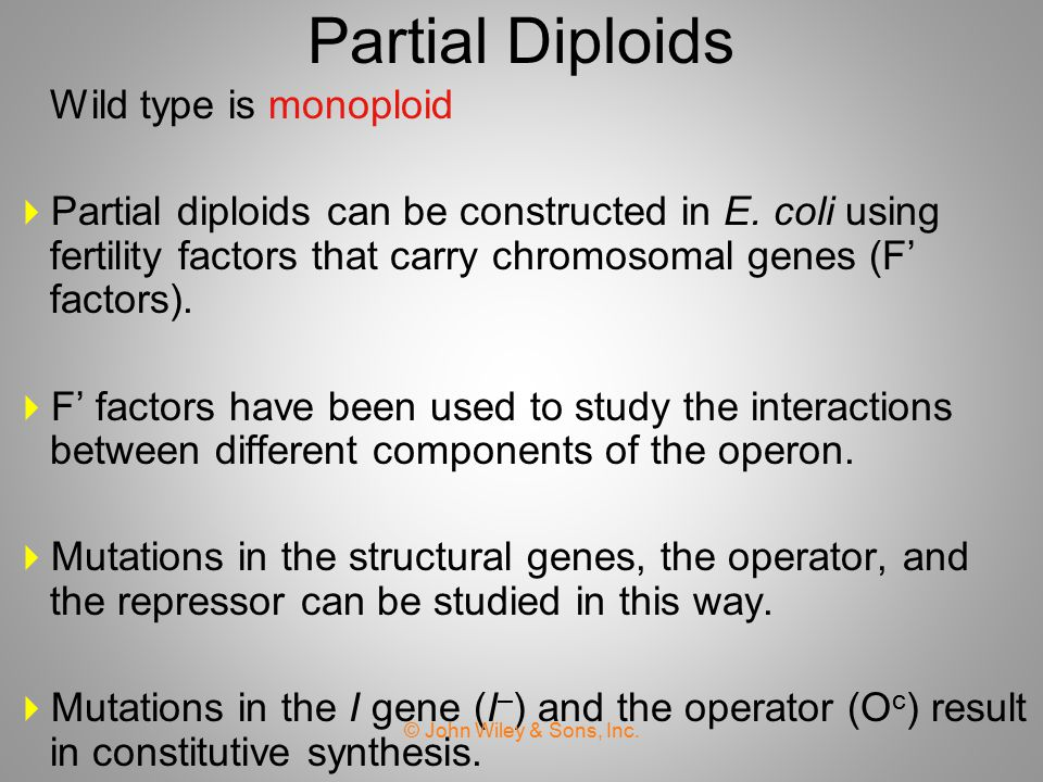 Partial Diploids Wild type is monoploid