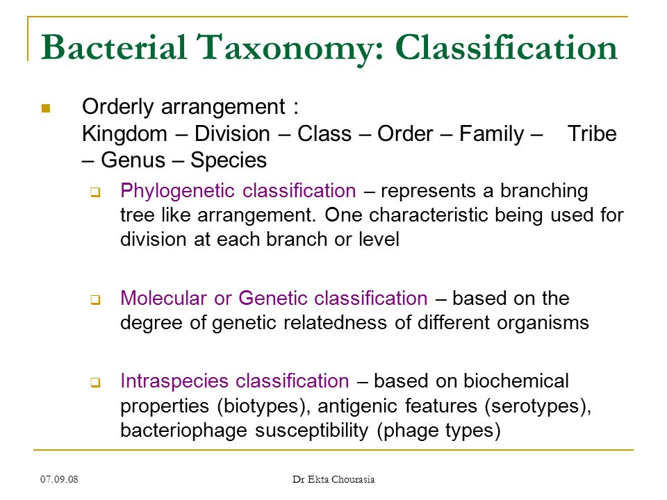 Bacterial Taxonomy: Classification