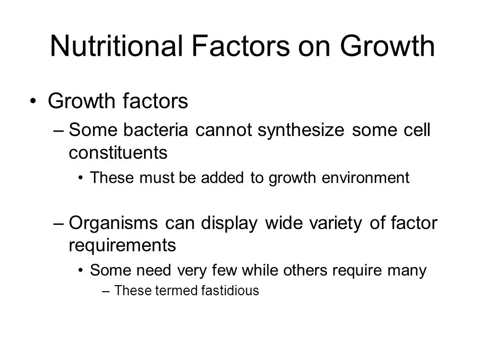 Nutritional Factors on Growth
