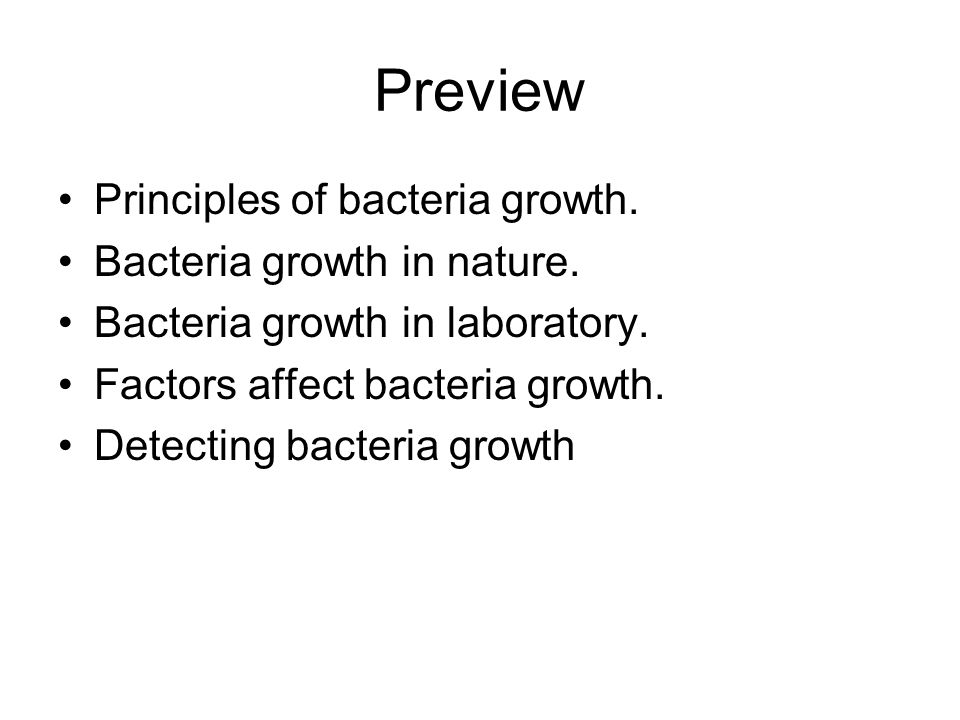Preview Principles of bacteria growth. Bacteria growth in nature.