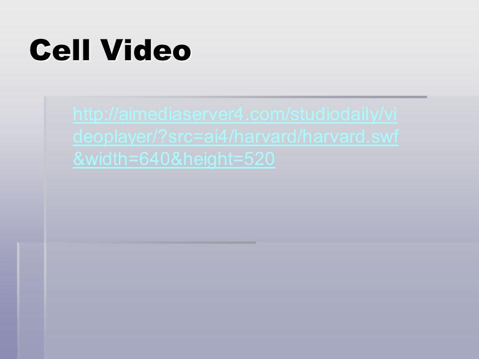 Cell Video http://aimediaserver4.com/studiodaily/videoplayer/ src=ai4/harvard/harvard.swf&width=640&height=520.
