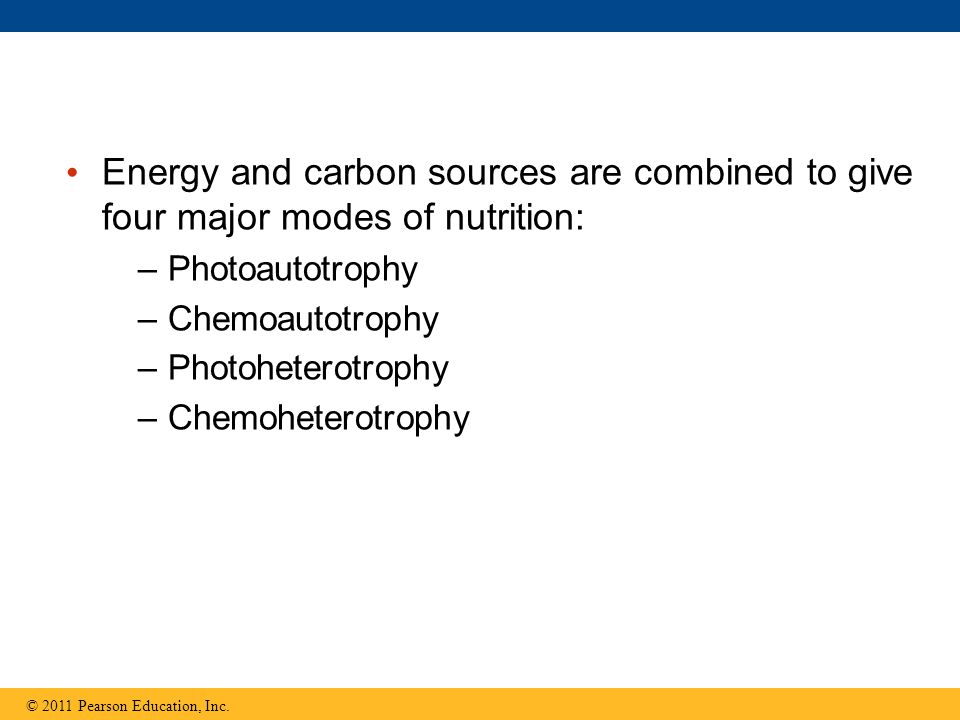 Energy and carbon sources are combined to give four major modes of nutrition: