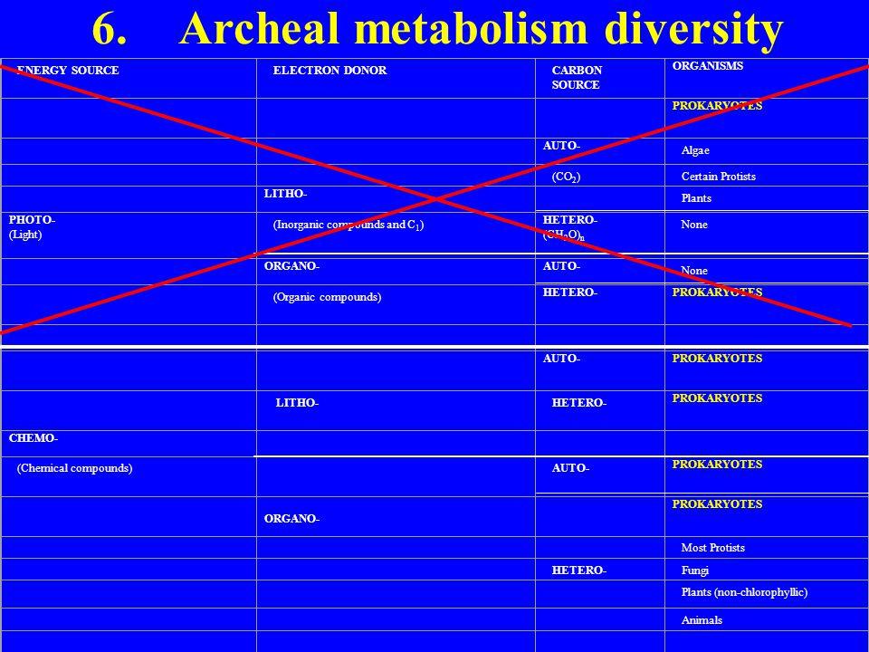 6. Archeal metabolism diversity