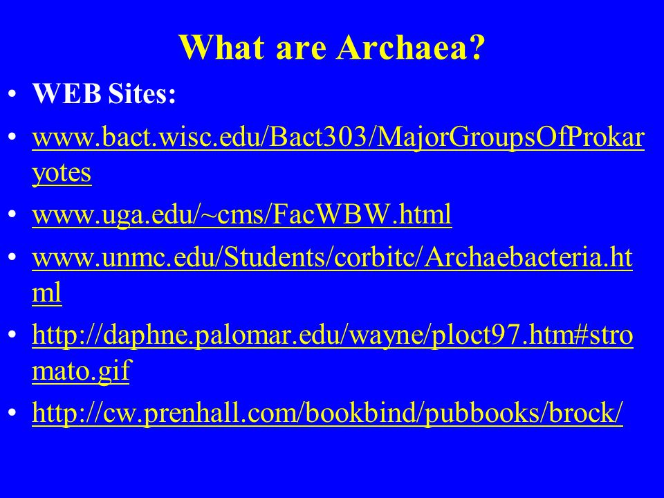 What are Archaea WEB Sites: