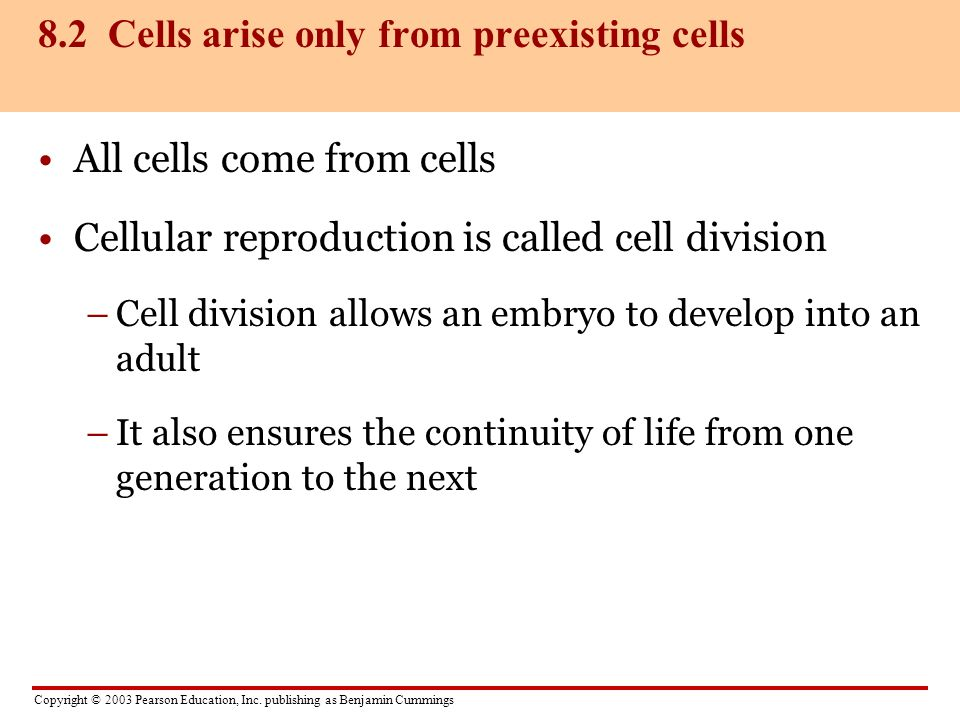 8.2 Cells arise only from preexisting cells