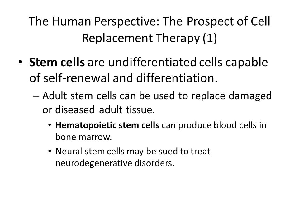 The Human Perspective: The Prospect of Cell Replacement Therapy (1)