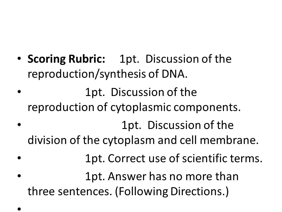 Scoring Rubric: 1pt. Discussion of the reproduction/synthesis of DNA.