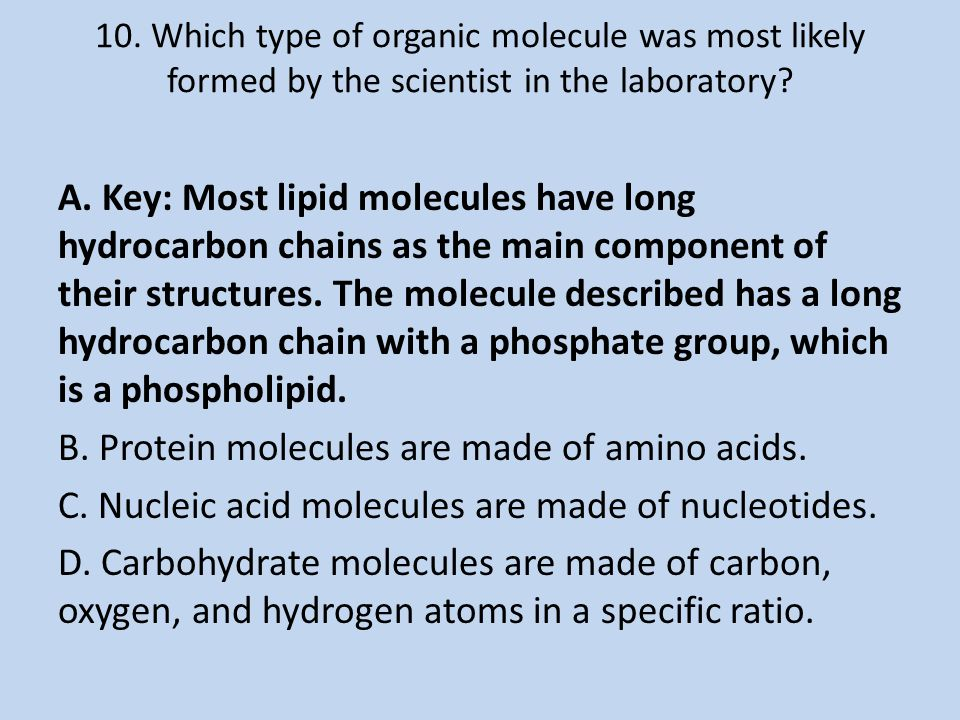 10. Which type of organic molecule was most likely formed by the scientist in the laboratory