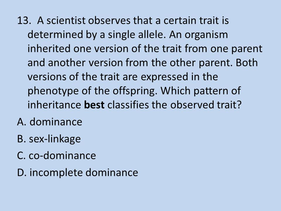 13. A scientist observes that a certain trait is determined by a single allele.