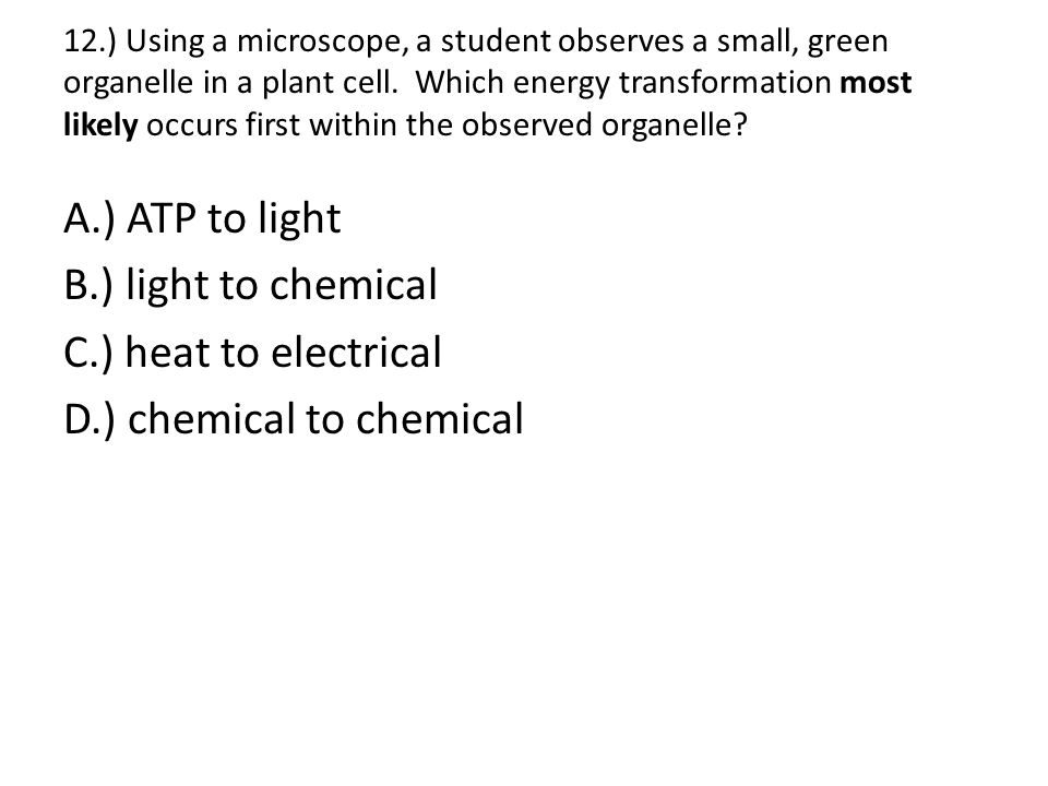 12.) Using a microscope, a student observes a small, green organelle in a plant cell. Which energy transformation most likely occurs first within the observed organelle