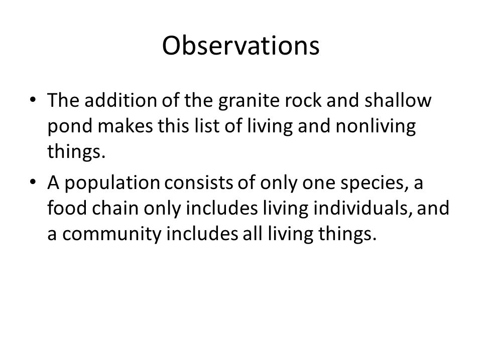 Observations The addition of the granite rock and shallow pond makes this list of living and nonliving things.