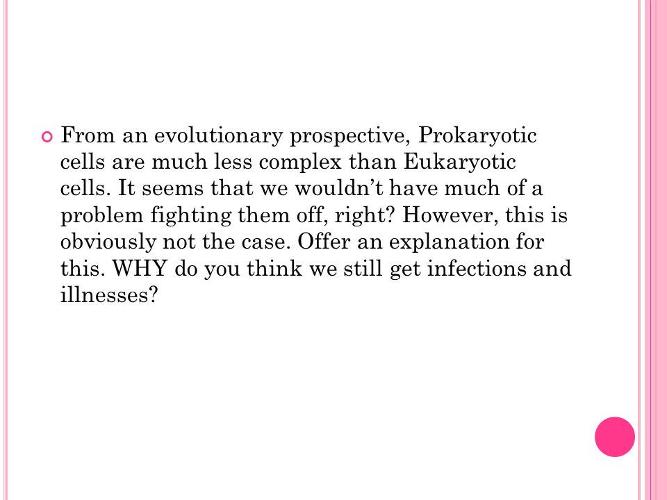 From an evolutionary prospective, Prokaryotic cells are much less complex than Eukaryotic cells.