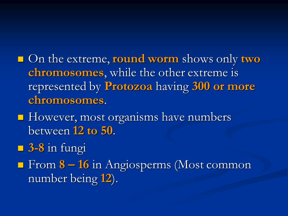 On the extreme, round worm shows only two chromosomes, while the other extreme is represented by Protozoa having 300 or more chromosomes.