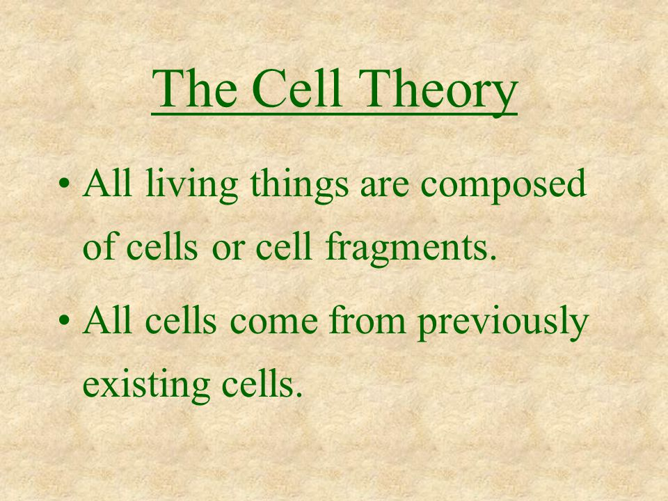The Cell Theory All living things are composed of cells or cell fragments.